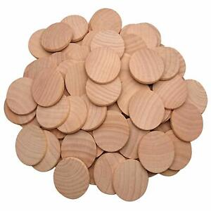 100pcs Natural Wood Slices 1.5 inch Unfinished Round Discs Wooden Circles