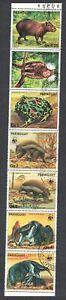 Paraguay WWF Anteater Armadillo Wild Animals 7v strip 1985 CTO MI#3851-3857