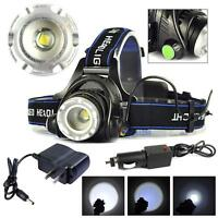 8000LM Zoomable XM-L T6 HeadLamp HeadLight Rechargeable+ AC/Car Charger MT@