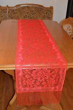 Heritage Lace Rectangular Polyster Red Flower Design 14x72 Runner (760)