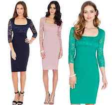 Amy Childs Style Square Neck Bengaline Lace Fitted Pencil Cocktail Party Dress