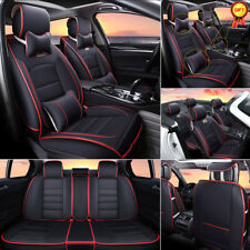 AU Car SUV 5-Seat PU Leather Seat Covers Front+Rear w/Neck Lumbar Pillows BLK/RD