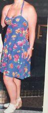 UNITED COLORS OF BENETTON Halter Neck Dress Size 14/42 Royal Blue Floral