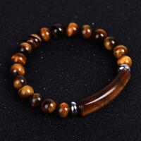 Tiger Eye Beaded Natural Stone Bracelet Bangle Elastic Yoga Unisex Jewelry Gifts