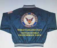 USS ANCHORAGE  LSD-36* VIETNAM VET*NAVY ANCHOR EMBROIDERED 2-SIDED SATIN JACKET
