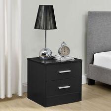 [en.casa]® Nachttisch mit 2 Schubladen Schwarz Nachtkommode Beistelltisch Ablage