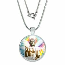 "with Sterling Silver Plated Chain Tie Dyed Buddha Serenity 1"" Pendant"