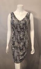 Stunning Alberto Makali Black White Leopard Print Sequin Tank Dress Size M