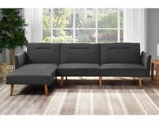 Sectional Sleeper Sofa Chaise Futon Bed Mid Century Room Convertible Couch Gray