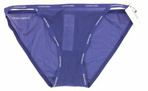 "NWT Calvin Klein QF1682 ""Sheer Marquisette"" Nylon Logo String Bikini Dark Blue S"