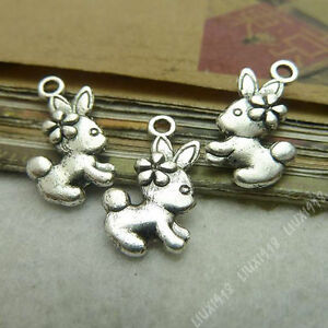 20pc 2-Sided Charms Rabbit Animal Pendant Beads Findings Tibetan Silver S333T