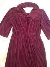 Vintage Burgundy /Red Dress Hand Tailored , Christmas Party look,  Size UK 14