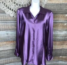 Maggie Barnes For Catherines Purple Satin 26 28 Button Up Blouse