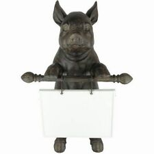 "Creative Co- Op Standing Black Resin Pig with Ceramic Message Board 16"" Tall"