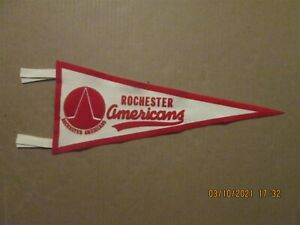 AHL Rochester Americans Vintage Circa 1971 Red & White Team Logo Pennant