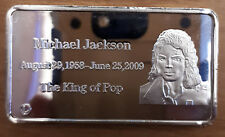 Michael Jackson tribute coin. Large Silver plated BAR frosted. The king of pop