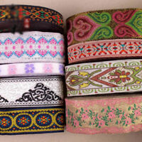 Vintage Floral Embroidered Jacquard Ribbon Braid Trim Woven Border Lace Crafts