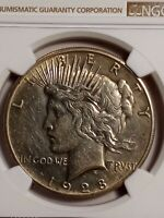 1928 $1 Peace SILVER Dollar - AU DETAILS LE804. BRILLIANT BEAUTIFUL!!! CLEANED.