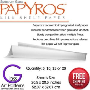"""Papyros Kiln Shelf Paper 20 1/2"""" Square in 5, 10, 15 Fused Glass Supplies"""