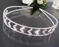 H10 Elegant Hair Circlet with Rhinestone Crystals Silver Plated NEW