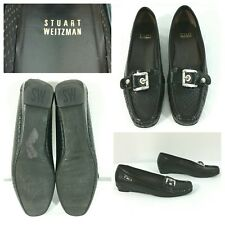 Stuart Weitzman Shoes Loafers Moccasin Black Patent Leather Perforated Size 8N