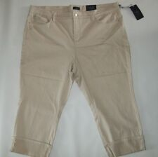 NYDJ Not Your Daughters SLIMMING Tan DAYLA Cuff CAPRI JEANS Plus womens 20W NEW
