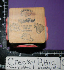 KITTY CAT MOUSE BOWL YARN CUBE BLOCK 4 RUBBER STAMPS ART GONE WILD 986 RETIRED