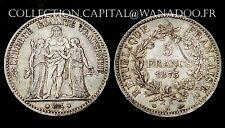 5 Francs Hercule 1875K. Bordeaux. TTB: 70€/SUP: 150€. Net: 36,50€.