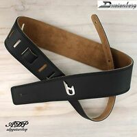 SANGLE COURROIE CUIR NOIR DUESENBERG GUITARE ou BASSE Dchrom 130cm LEATHER STRAP