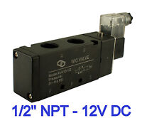 """Pneumatic 4 Way Air Directional Control Electric Solenoid Valve 12V DC 1/2"""" Inch"""