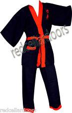 New Boys or Girls 2pc KUNG FU Cotton Pajamas Navy Blue Red Trim Sz L Fits Sz 16