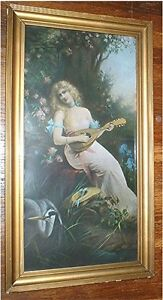 antique WOMAN PLAYING LUTE PRINT