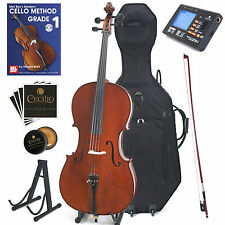 Cecilio 4/4CCO-500 Flamed Solid Wood Cello with Hard, Soft Case and Accessories