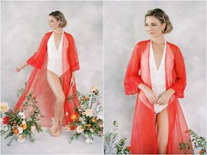 Vintage 80s Red Nightgown Lingerie Bridal Kimono Robe Boudoir XS S Lace