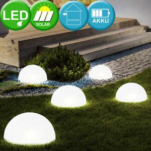 5er Set LED Solar Steck Lampen Halb Kugel Design Außen Leuchten Garten Weg Hof