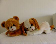 """JESTIA Vintage 15"""" Straw Filled TEDDY BEAR & DOG plush PYJAMA / NIGHTDRESS CASE"""