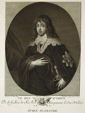 """Anthonius VAN DYCK """" le Duc d'Yorck"""" Gravure  Migé  Ed Couché 1786"""