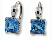 Woman's 14k White Gold Earrings Princess Cut Fine Swiss Blue Topaz