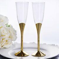 5 oz Plastic GOLD Champagne FLUTES Glasses Favor Holders Disposable Tableware