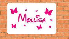 Farfalla Personalizzata DISNEY font Camera Da Letto Porta grandi A4 in alluminio metallo segno