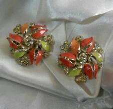 Beautiful Vintage 60's Orange Enamel Ice Rhinestone Flower Clip Earrings 13j8