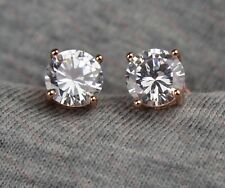 Unisex 18k/18ct Rose Gold Filled Cubic Zirconia 7mm Stud Earrings