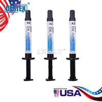 3PC DENTEX Dental Composite Curing Light Ultra Flowable Resin Syringe A3 Shades