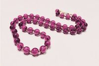 VINTAGE JEWELRY 1950s Amethyst Purple Lucite Round Bead Strand Collar Necklace