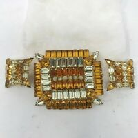 Vintage Kramer Brooch Pin Earrings Set Clear Amber Prong Set Rhinestones Square
