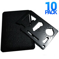 10x Black 11-in-1 Multi Tool Credit Card Wallet Knife Pocket Survival Camping