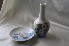 Vintage Royal Copenhagen Denmark Pastel Blue Flower Pin Dish and Bottle