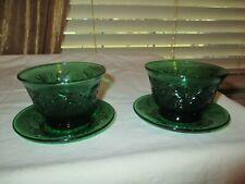 4 Pc Set Vintage Anchor Hocking Forest Green Sandwich Custard Cups & Saucers NEW