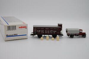 """Märklin Museumswagen 1993 Güterwagen + LKW  """" L.Wackler´s Nachf. """"  TOP in OVP"""