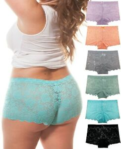 Barbra Lingerie 6 Pack of Women's Plus Size Lace Boy Shorts Panties Small to 5XL